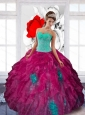 Fashionable Sweetheart Appliques and Ruffles Sweet Sixteen Dresses in Multi Color