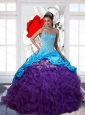 Pretty Beading and Ruffles 2015 Multi Color Quinceanera Dresses with Pick Ups