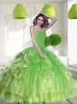 Pretty Spring Green 2015 Quinceanera Dress with Beading and Ruffles