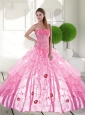 Pretty Sweetheart 2015 Quinceanera Dresses with Appliques and Ruffled Layers