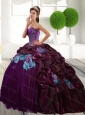 Pretty Sweetheart 2015 Quinceanera Gown with Appliques and Pick Ups