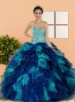 Pretty Sweetheart Beading and Ruffles Quinceanera Dresses in Multi Color