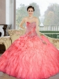Unique  2015 Beading and Ruffles Sweetheart Quinceanera Dresses in Watermelon