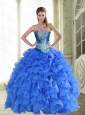 Unique Beading and Ruffles Strapless Blue Quinceanera Dresses for 2015 Spring