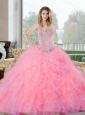 Unique Beading and Ruffles Sweetheart Quinceanera Gown for 2015