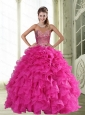Unique  Sweetheart Hot Pink 2015 Quinceanera Dresses with Beading and Ruffles