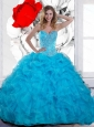 2015 Cute Beading and Ruffles Sweetheart Quinceanera Gown in Teal