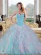 2015 Perfect Sweetheart Multi Color Sweet 15 Dresses with Beading and Ruffles