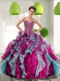 2015 Puffy  Sweetheart Quinceanera Dresses with Beading and Ruffles