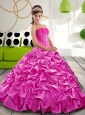 Cute  Sweetheart 2015 Hot Pink Quinceanera Gown with Appliques and Pick Ups