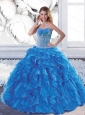 Cute Sweetheart Teal Sweet 16 Dresses with Appliques and Ruffles