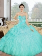Puffy Appliques and Ruffles Sweetheart Aqua Blue 2015 Quinceanera Dresses