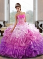 Puffy Sweetheart 2015 Quinceanera Dress with Appliques and Ruffled Layers