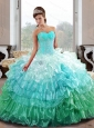 Puffy  Sweetheart 2015 Quinceanera Gown with Appliques and Ruffled Layers