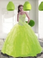 Puffy Sweetheart Beading Quinceanera Dress in Spring Green