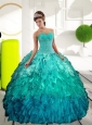 Puffy Sweetheart Multi Color Sweet Sixteen Dresses with Appliques and Ruffles