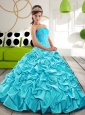 Puffy Sweetheart Sweet 16 Dresses with Appliques and Pick Ups