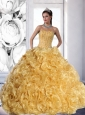 Unique Strapless Gold 2015 Quinceanera Dress with Beading and Rolling Flowers