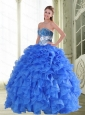 Beautiful Beading and Ruffles Sweetheart Blue Quinceanera Dresses for 2015 Spring