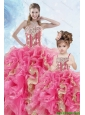 2015 Luxurious Beading and Ruffles Organza Princesita Dress in Multi-color
