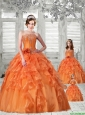 Pretty Puffy Orange Red Princesita Dress with Appliques and Ruffles