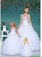 Fashionable and Affordable White Princesita Dress with Beading and Ruffles