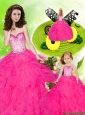 New Arrival Beading and Ruffles Hot Pink Princesita Dress