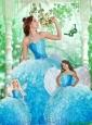 2015 Featured Beading and Ruffles Princesita Dress in Baby Blue