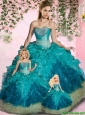 Cheap Strapless Blue Princesita Dresses with Appliques and Ruffles