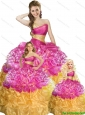 Elegant Fuchsia and Gold Princesita Dress with Beading and Pick-ups