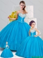Elegant Sweetheart Aqua Blue 2015 Princesita Dresses with Beading