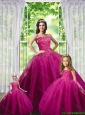 2015 Beautiful Beading and Appliques Dress in Fuchsia for Princesita