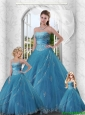 2015 Cheap Appliques and Beading Baby Blue Strapless Dress For Princesita