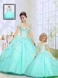 2015 Fashionable Beading Sweep Train Princesita Dress in Aqua Blue