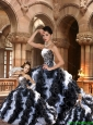 2015 Fashionable Black and White Dresses with Ruffles for Princesita