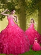2015 Fashionable Hot Pink Princesita Dresses with Beading and Ruffles