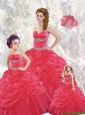 2015 Wonderful Ball Gown Red Princesita Dresses with Beading and Pick-ups
