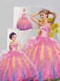 Fashionable Sweetheart Appliques and Ruffles Multi-color Dresses for Princesita