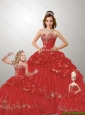 Fashionable Sweetheart Appliques Red Dresses for Princesita