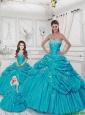 Popular Sweetheart Appliques Aqua Blue Dresses for Princesita