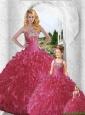 Inexpensive Sweetheart Red Beading and Ruffles Princesita Dresses