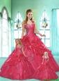 Popular One Shoulder Appliques and Pick-ups Red Dresses for Princesita