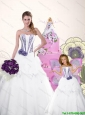 White Strapless Hand Made Flowers Organza Princesita Dresses