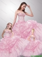 2015 Pretty Sweetheart Beading Baby Pink Dresses for Princesita
