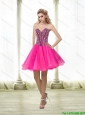 Beautiful A Line Beading Sweetheart Prom Dress in Hot Pink