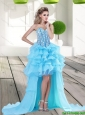 2015 Popular Aqua Blue High Low Prom Dress with Beading and Ruffles