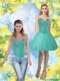 Beautiful 2015 Beading and Appliques Sweetheart Prom Dress in Turquoise