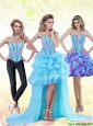 Beautiful Aqua Blue High Low 2015 Prom Dress with Beading and Ruffles
