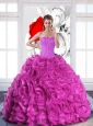 2015 Modest Sweetheart Quinceanera Dresses with Beading and Ruffles