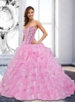 Flirting 2015 Sweetheart Beading and Ruffles Rose Pink Quinceanera Dresses